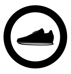 sport shoes icon black color in circle vector image