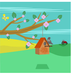 spring rural landscape with cherry blossom vector image