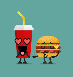 fast food fall in love vector image vector image