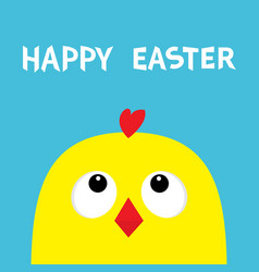 happy easter sign symbol chicken head face big vector image