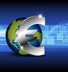 icon euro money with globe vector image vector image
