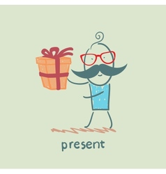 man with gift vector image