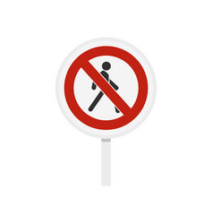 no pedestrian traffic sign icon flat style vector image