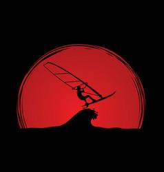 windsurfing man play windsurf graphic vector image