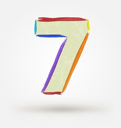 Alphabet letter number seven Watercolor paint vector image