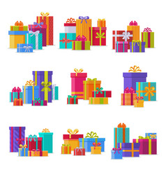 Gift box packs composition event greeting object vector