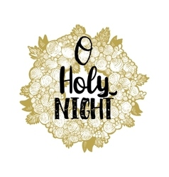 Xmas golden wreath and Holy Night vector image