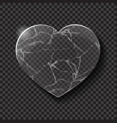 Broken heart made from glass vector
