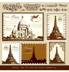 buildings and landmarks of paris vector image vector image