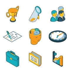 Business icons Isometric 3d signs of vector image vector image