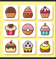 cakes muffins sweets icons 1 vector image vector image