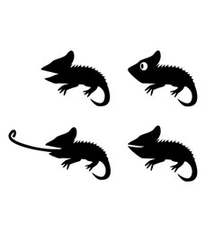 set of lizard in silhouette style side view vector image