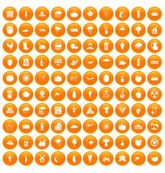 100 pumpkin icons set orange vector