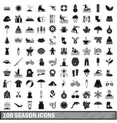 100 season icons set simple style vector image