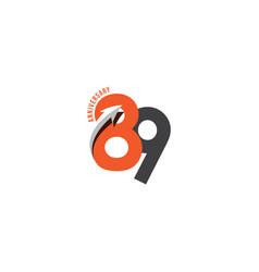 89 year anniversary template design vector
