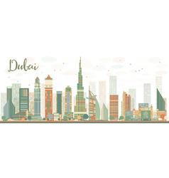 Abstract Dubai City skyline with color skyscrapers vector