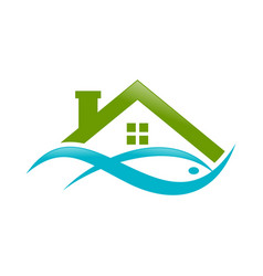 Abstract lake house watery fish green logo symbol vector