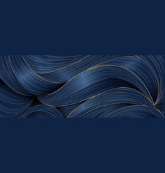 abstract luxury wavy pattern blue and golden vector image