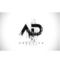ad a d grunge brush letter logo design in black vector image