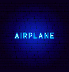 Airplane neon text vector