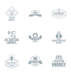 Alternative power logo set simple style vector