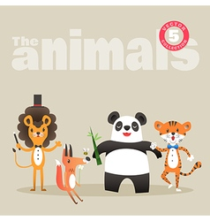 Animals cartoon including lion fox panda and tiger vector