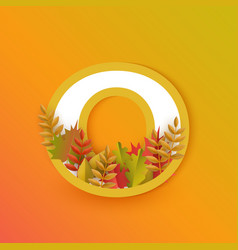 autumn zero 0 number with forest leaves vector image