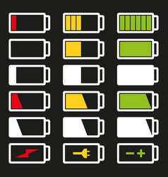 battery flat icon set isolated vector image