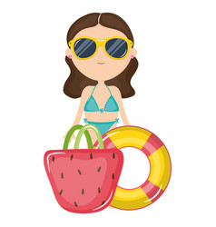 Beautiful woman with swimsuit and float vector