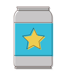 Beer can with star emblem in watercolor silhouette vector