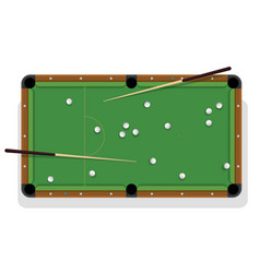 billiard table cue and pool balls for game vector image