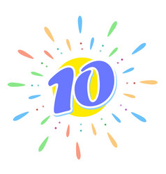 blue 10 in the middle of the fireworks us ten vector image