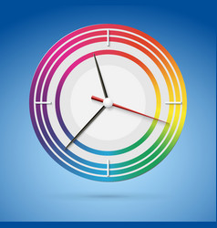 Bright watch with a dial of the rainbow beautiful vector image
