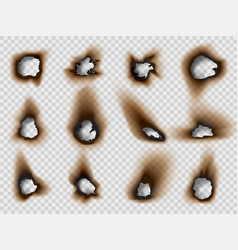 burned holes in a paper realistic style set vector image