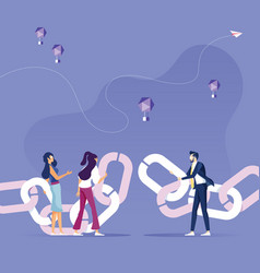Business people merge chain-link concept vector