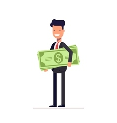 Businessman or manager with money in hand The vector image