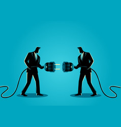 Businessmen holding a plug and outlet vector