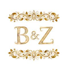 Bz vintage initials logo symbol letters b vector
