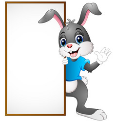 cartoon bunny waving hand with blank sign vector image