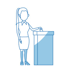 cartoon woman vote at ballot box election vector image