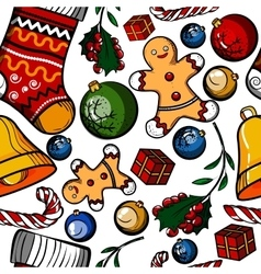Christmas colored toy pattern vector image