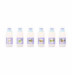 Classic milk bottles with different variation of vector