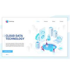 cloud data technology soft light landing page vector image