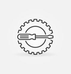 cog wheel with screwdriver line concept vector image