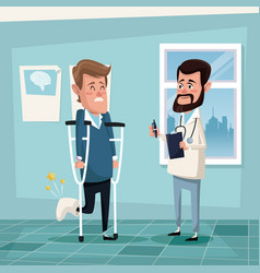 Color background hospital room with man in vector