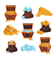 colored set with full chests and bags of treasures vector image