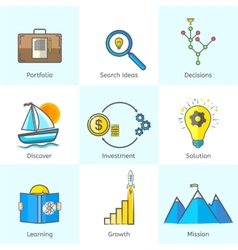 Colorful Bright Flat Line Business Icons Set with vector image vector image
