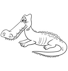 Crocodile animal character cartoon coloring book vector