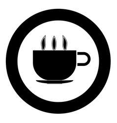 Cup with hot tea or coffee icon black color in vector
