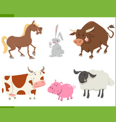 cute farm animals cartoon set vector image
